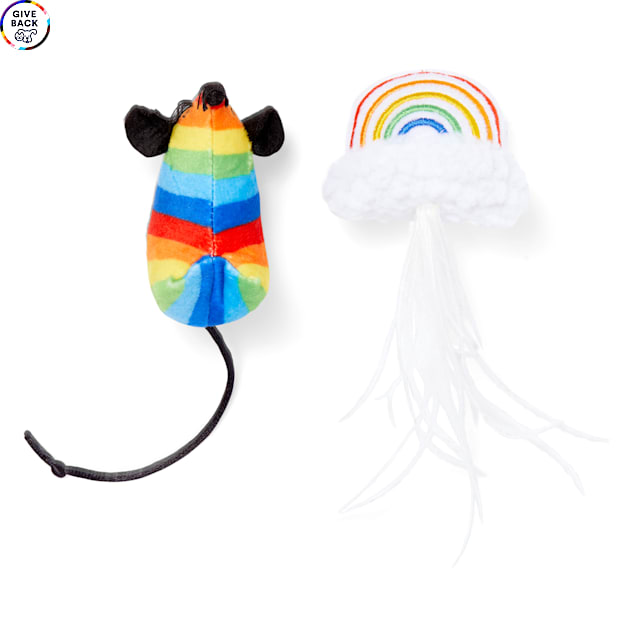 YOULY The Proudest Rainbow & Mouse Cat Toy Set, Small, Pack of 2 - Carousel image #1
