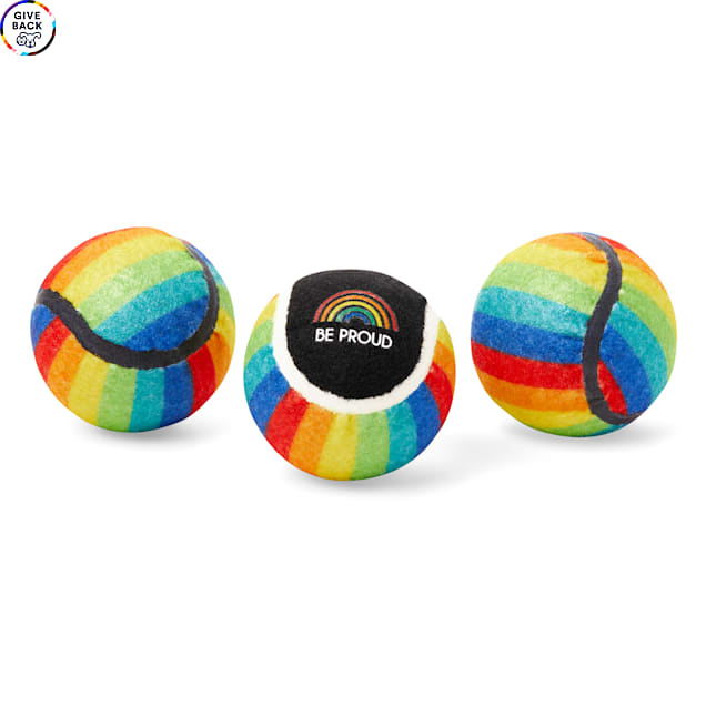 YOULY The Proudest Rainbow Tennis Ball Set, X-Small, Pack of 3 - Carousel image #1