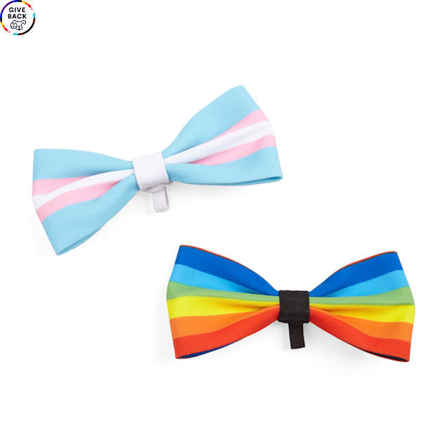 YOULY The Proudest Multi Rainbow Pet Bowties, Pack of 2 - Carousel image #1