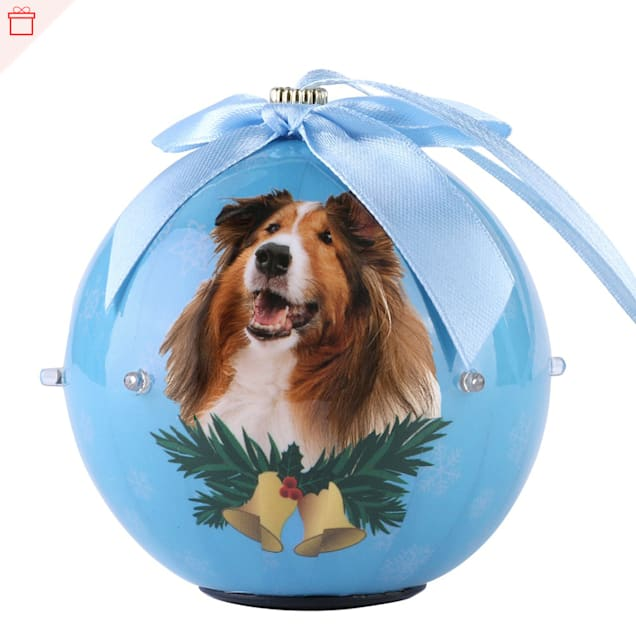 CueCuePet Collie Dog Collection Twinkling Lights Christmas Ball Ornament, Medium - Carousel image #1