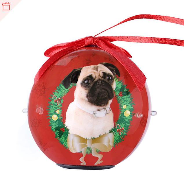 CueCuePet Pug Dog Collection Twinkling Lights Christmas Ball Ornament, Medium - Carousel image #1