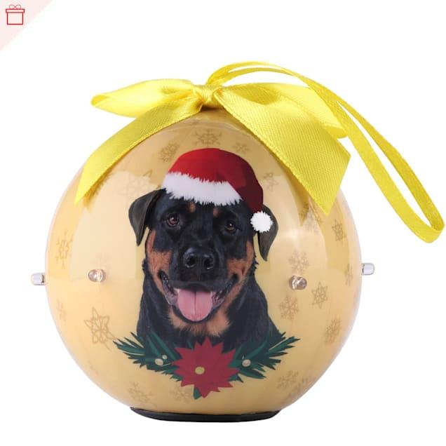 CueCuePet Rottweiler Dog Collection Twinkling Lights Christmas Ball Ornament, Medium - Carousel image #1