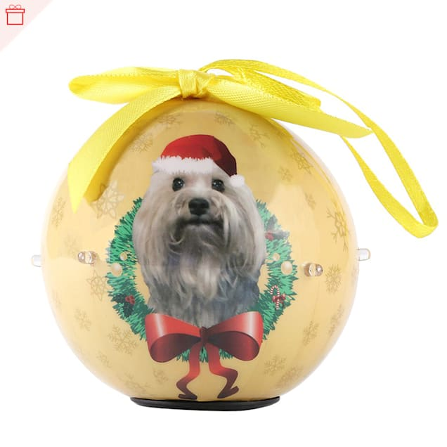 CueCuePet Terrier Dog Collection Twinkling Lights Christmas Ball Ornament, Medium - Carousel image #1