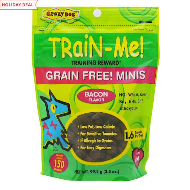 Crazy Dog Train-Me! Grain Free! Minis Training Reward Bacon Dog Treats, 3.5-oz bag, 150 count. - Carousel image #1