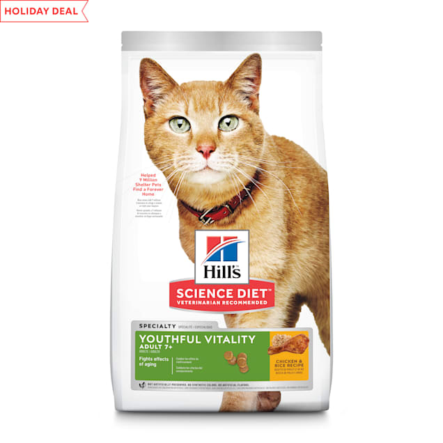 Hill's Science Diet Adult 7+ Youthful Vitality Chicken & Rice Recipe Dry Cat Food, 13 lbs. - Carousel image #1