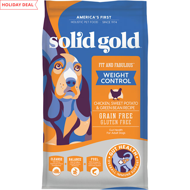 Solid Gold Fit & Fabulous Chicken, Sweet Potato & Green Bean Weight Control Grain Free Adult Dog Food with Superfoods, 24 lbs. - Carousel image #1