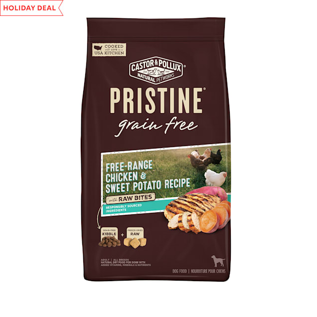 Castor & Pollux Pristine Grain Free Free-Range Chicken and Sweet Potato Recipe with Raw Bites Dry Dog Food, 18 lbs. - Carousel image #1