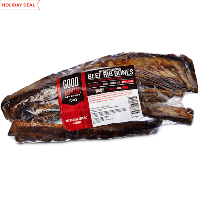 Good Lovin' Hickory Smoked Beef Rib Bone Dog Chews, Pack of 4 - Carousel image #1