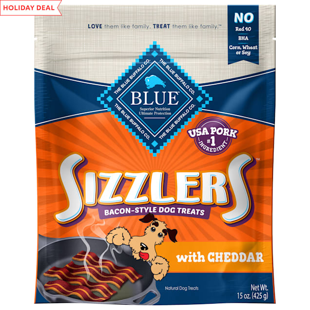BLUE Sizzlers Bacon and Cheddar Flavor Natural, Bacon-Style Dog Treats, 15 oz. - Carousel image #1