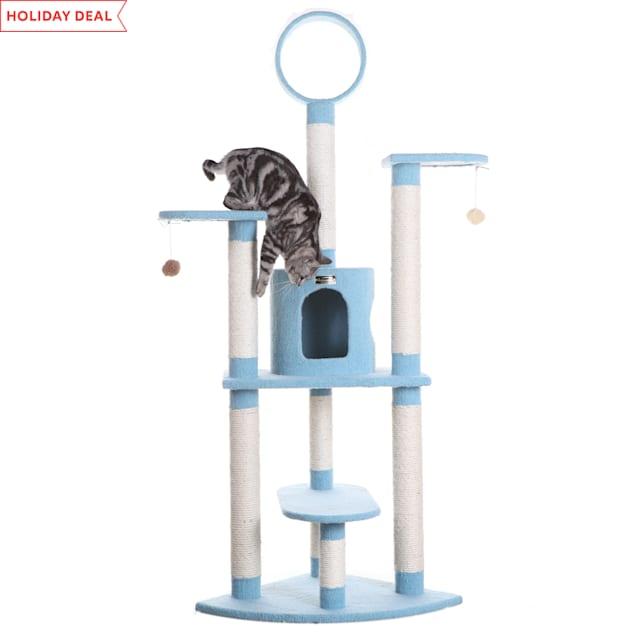 "Armarkat Classic Cat Tree Model B6605 Sky Blue, 66"" H - Carousel image #1"
