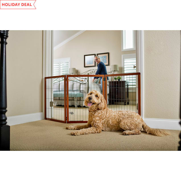 """You & Me Freestanding Wooden Pet Gate, 22""""-60"""" W x 28"""" H - Carousel image #1"""