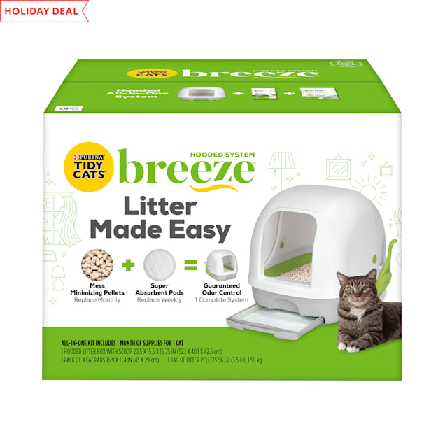 Purina Tidy Cats Breeze Hooded System Starter Kit Cat Litter Box, Litter Pellets & Pads - Carousel image #1