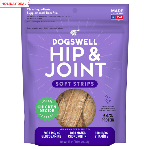 Dogswell Hip & Joint Soft Strips Grain-Free Chicken for Dogs, 12 oz. - Carousel image #1
