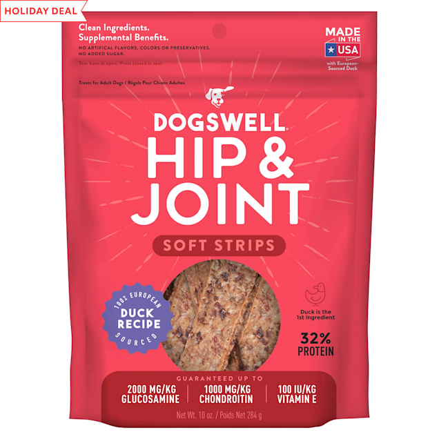 Dogswell Hip & Joint Soft Strips Grain-Free Duck Recipe for Dogs, 10 oz. - Carousel image #1