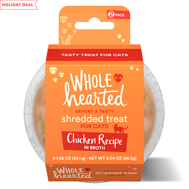 WholeHearted Grain Free Chicken Recipe Shredded Cat Treat, 1.52 oz., Count of 2 - Carousel image #1