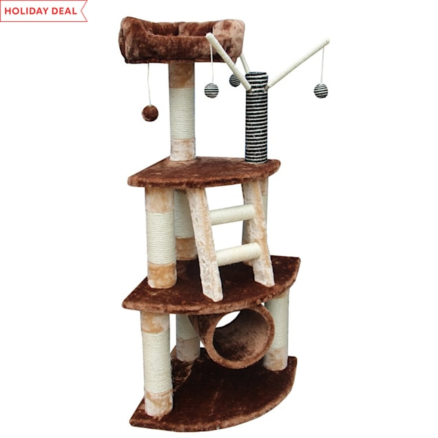"""Kitty Mansions Athens Cat Tree, 53"""" H - Carousel image #1"""
