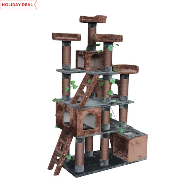 """Kitty Mansions Big Horn Cat Tree, 81"""" H - Carousel image #1"""