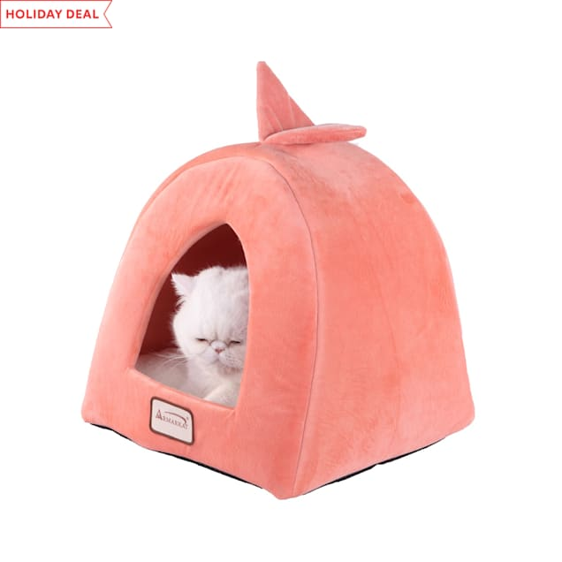 """Armarkat Condo Cat Bed in Orange and Ivory, 14"""" L X 14"""" W - Carousel image #1"""
