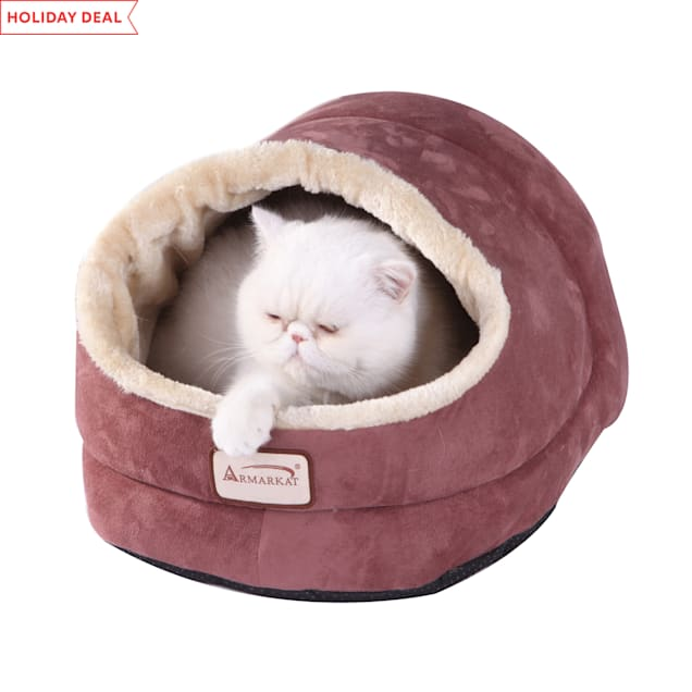 """Armarkat Cave Cat Bed in Indian Red, 18"""" L X 14"""" W - Carousel image #1"""