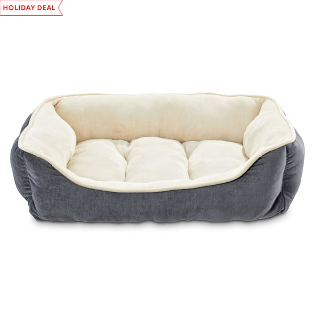 "Animaze Gray Bolster Dog Bed, 24"" L X 18"" W X 7"" H - Carousel image #1"