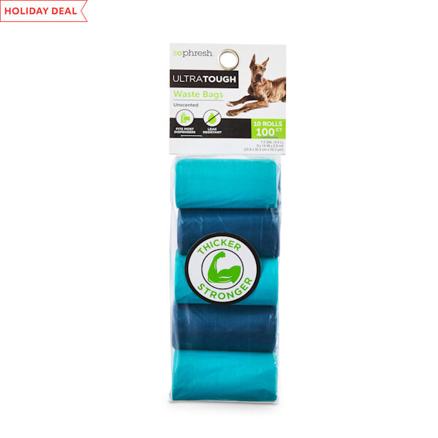 So Phresh Blue Ultra-Tough Waste Bag Refill Rolls for Dogs, Count of 100 - Carousel image #1