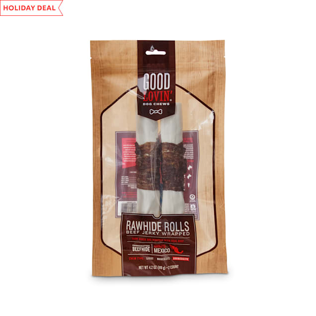 Good Lovin' Beef Jerky Wrapped Rawhide Roll Dog Chews, 7-inch, Pack of 2 - Carousel image #1