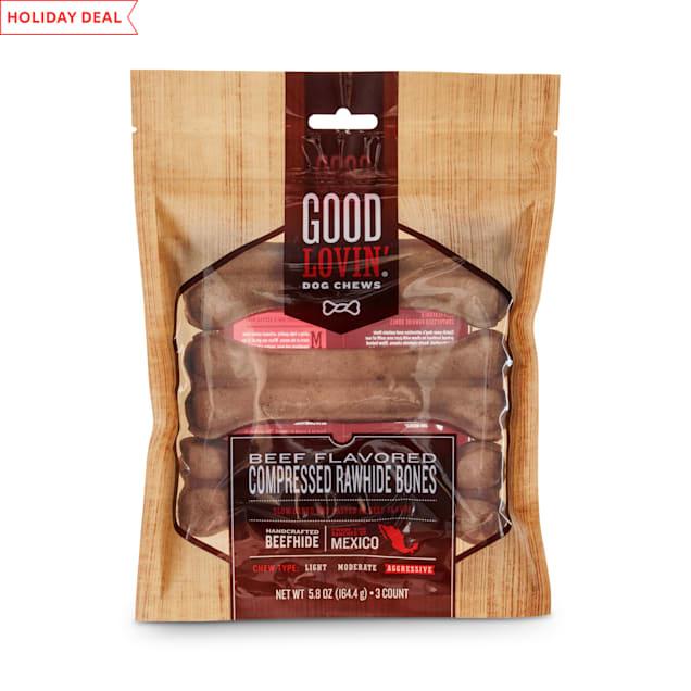 Good Lovin' Beef Flavored Compressed Rawhide Bone Dog Chews, 5-inch, Pack of 3 - Carousel image #1