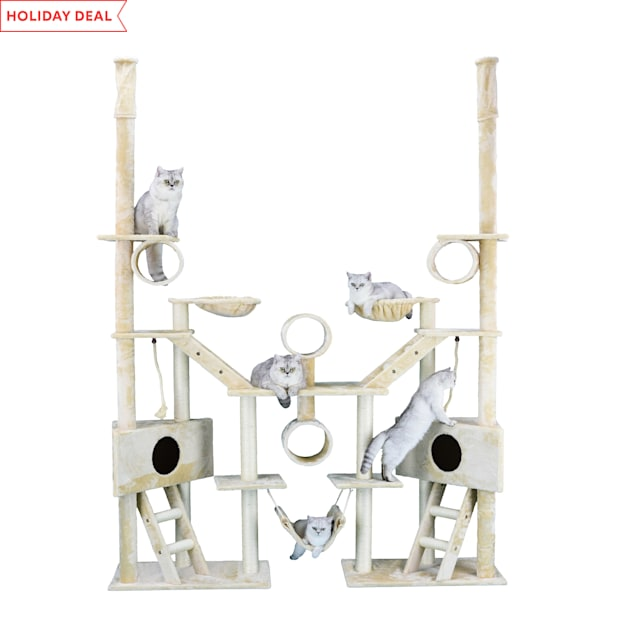 """Go Pet Club Beige 106"""" Cat Tree with Ladders, Ropes, and Side Baskets - Carousel image #1"""