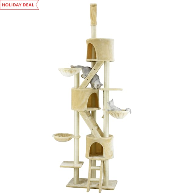 "Go Pet Club Beige 106"" Cat Tree with Adjustable Top Pole - Carousel image #1"