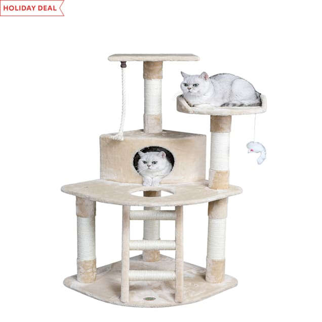 """Go Pet Club Beige 48"""" Cat Tree Condo with Hanging Toys and Ladder - Carousel image #1"""