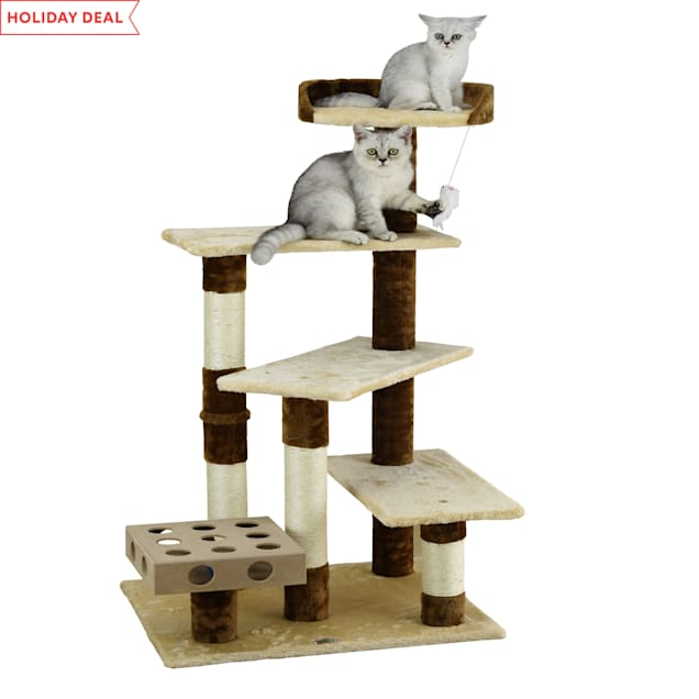 """Go Pet Club Beige and Brown 45"""" Cat Tree with IQ Box - Carousel image #1"""