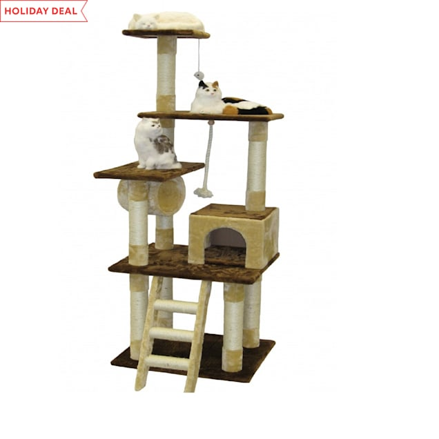 "Go Pet Club Beige and Brown 67""  Cat Condo with Ladder and Tunnel - Carousel image #1"