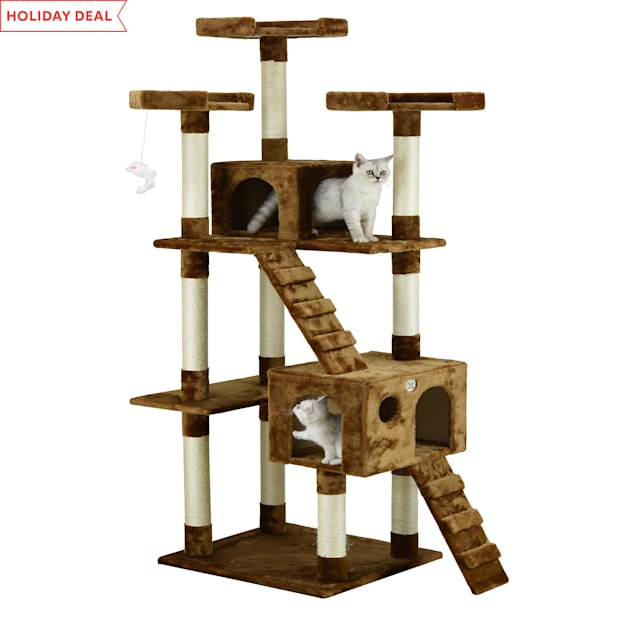 """Go Pet Club Brown 72""""Cat Tree Condo with Two Ladders - Carousel image #1"""