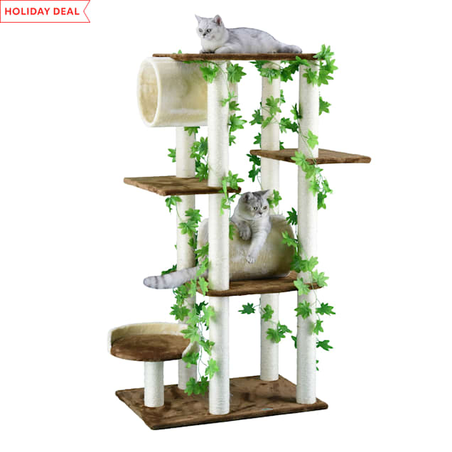 "Go Pet Club Beige and Brown 58"" Forest Cat Tree with Two Tunnels - Carousel image #1"