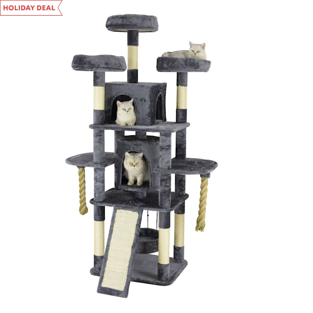 """Go Pet Club Grey 71"""" Cat Tree with Giant Ropes and Ramp Scratching Board - Carousel image #1"""