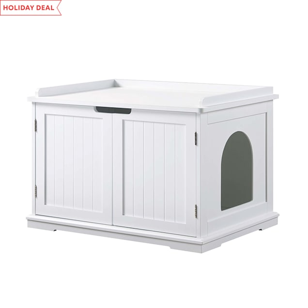"UniPaws Cat Washroom Storage Bench White, 29"" L x 21"" W x 20"" H - Carousel image #1"