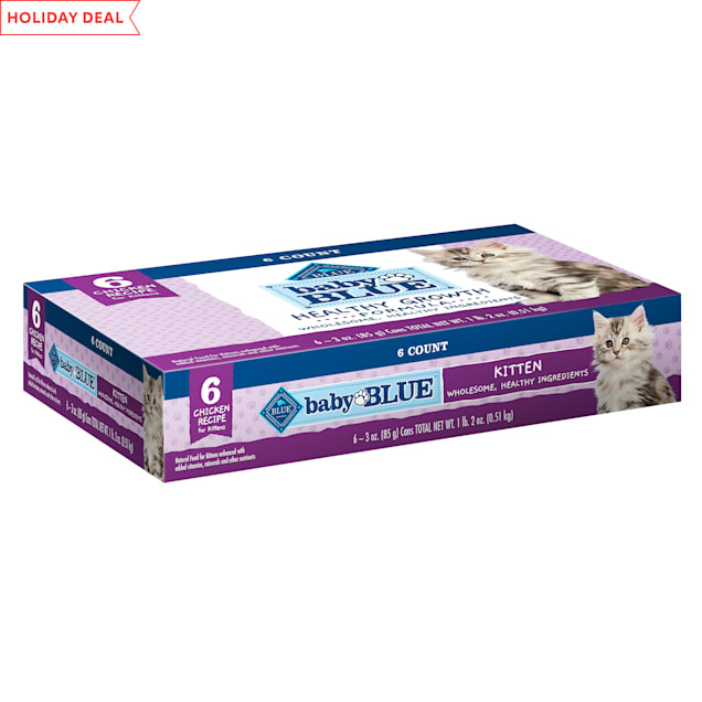 Blue Buffalo Baby Blue Healthy Growth Formula Natural Chicken Recipe Kitten Pate Wet Food Multipack, 3 oz., Count of 6 - Carousel image #1