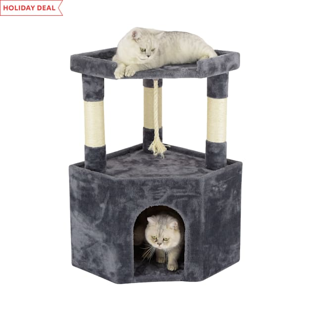 """Go Pet Club Gray Cat Tree Condo with Large Perch, 32"""" H - Carousel image #1"""