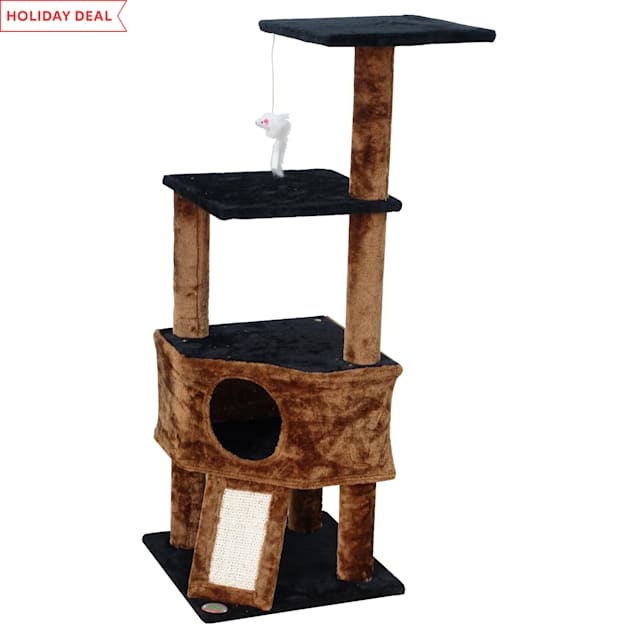 """Go Pet Club Black Kitten Tree with Scratching Board, 46"""" H - Carousel image #1"""