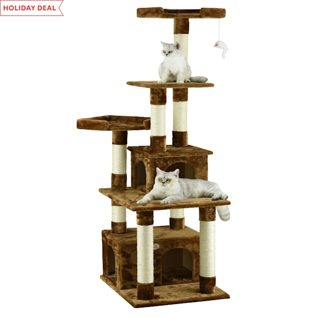 "Go Pet Club Classic Brown Cat Tree Condo Furniture with Sisal Scratching Posts, 67.25"" H - Carousel image #1"