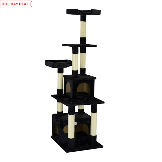"Go Pet Club Classic Black Cat Tree Condo Furniture with Sisal Scratching Posts, 67.25"" H - Carousel image #1"