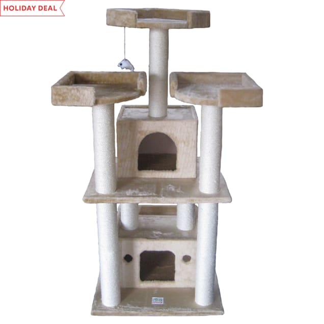 """Go Pet Club Beige Cat Tree with Large Houses with Sisal Covered Posts F39, 51"""" H - Carousel image #1"""