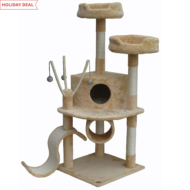 """Go Pet Club Beige Cat Tree House with Dangling Toys and Slide, 55"""" H - Carousel image #1"""