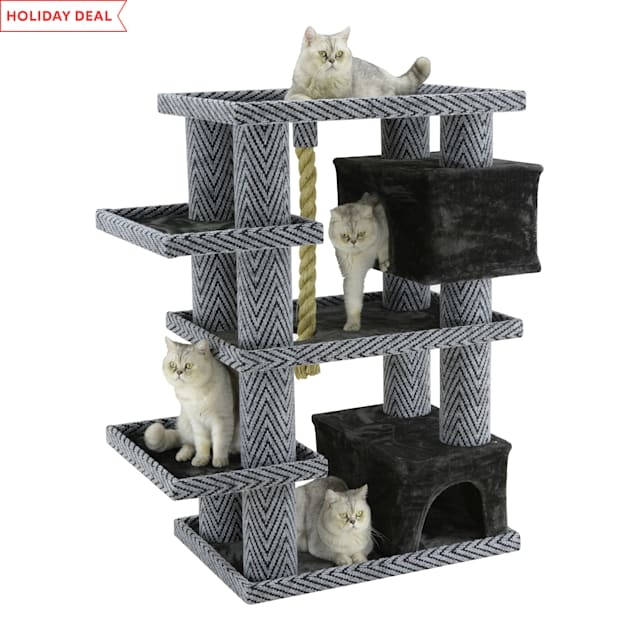 """Go Pet Club Sequoia Cat Tree House with Jungle Rope LP-855, 50.5"""" H - Carousel image #1"""
