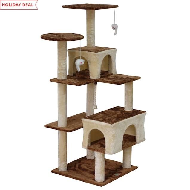 "Go Pet Club Beige Kitten Tree House, 60.75"" H - Carousel image #1"