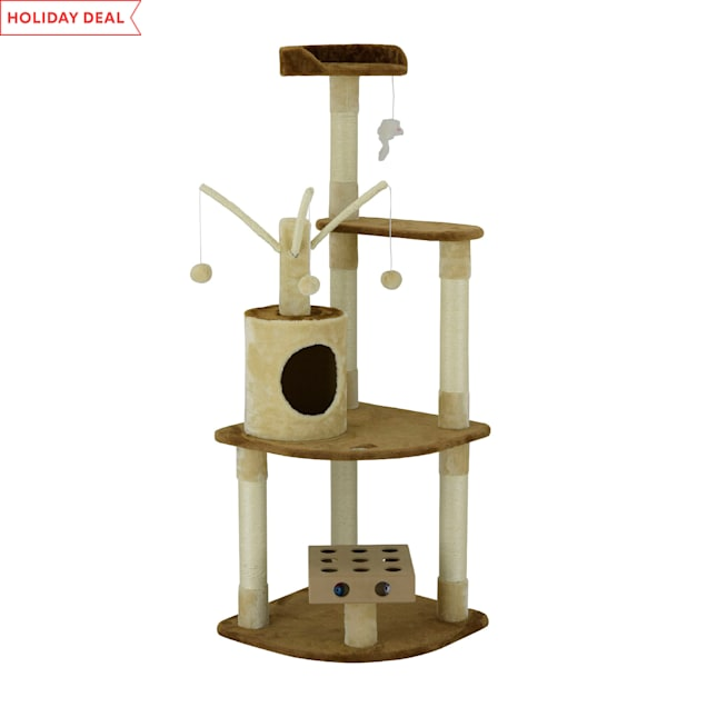 "Go Pet Club IQ Busy Box Cat Tree Condo with Dangling Toys SF053, 60"" H - Carousel image #1"