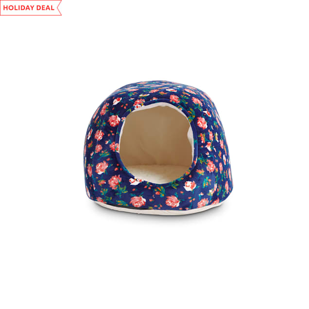 """EveryYay Snooze Fest Navy Floral Egg Cave Cat Bed, 16"""" L X 12"""" W X 10"""" H - Carousel image #1"""