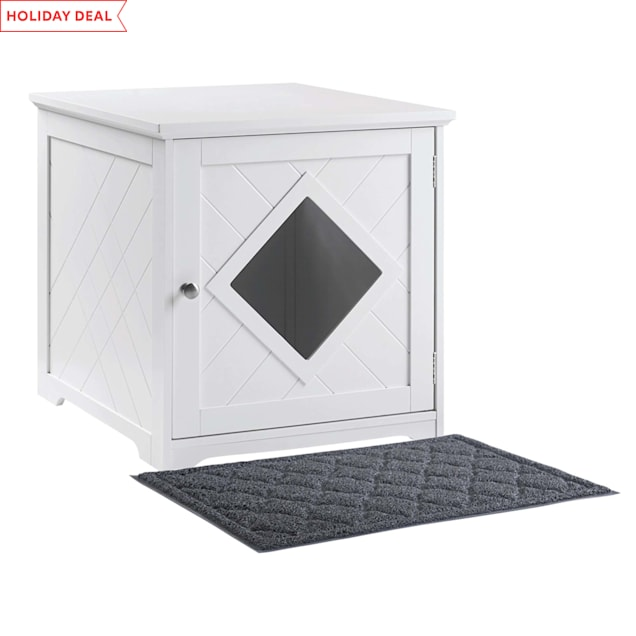 """UniPaws White Wooden Cat Litter Box Cover with Mat, 19"""" L X 21"""" W X 20"""" H - Carousel image #1"""