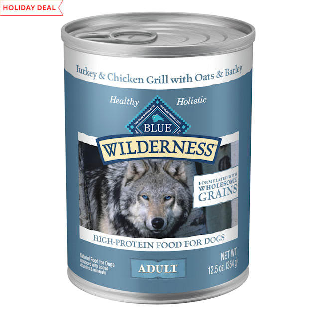 Blue Buffalo Blue Wilderness Natural Wholesome Grains Turkey & Chicken Grill Adult Wet Dog Food, 12.5 oz. - Carousel image #1