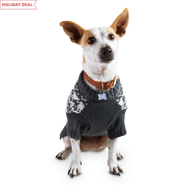 Holiday Tails A Wonderful Winter Grey Fair Isle Dog Sweater, X-Small - Carousel image #1